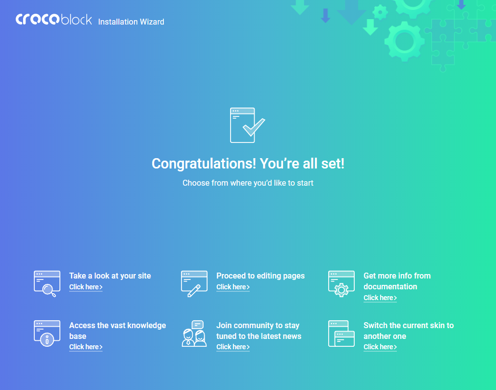 Crocoblock Wizard Congratulation screen