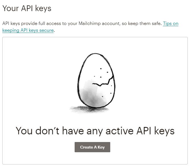 create the API key button