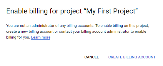 Billing account creation