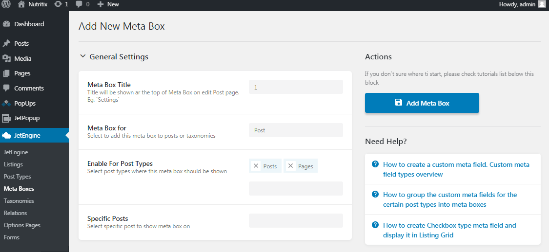Add new meta box