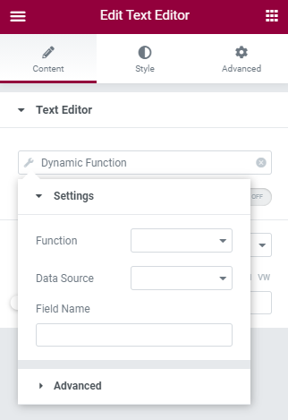 dynamic function tag