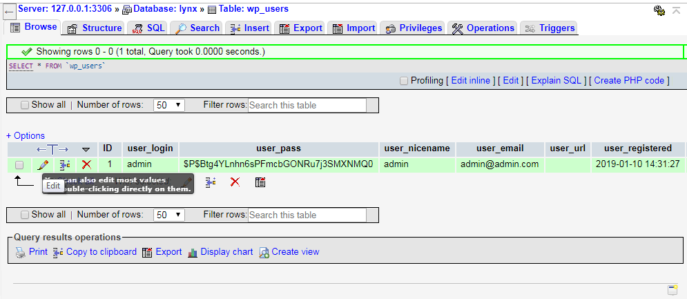 PHPMyAdmin settings