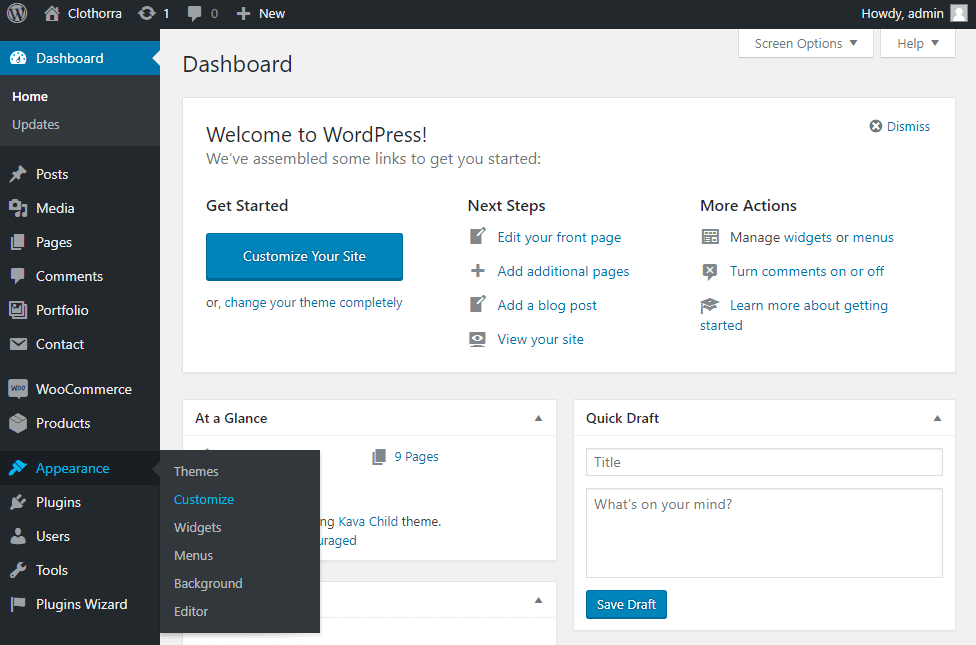 a ppearance customise section in WP Dashboard