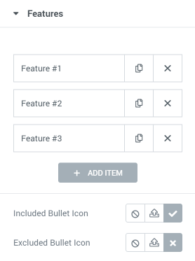 Pricing Table features settings