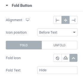 Pricing Table fold button settings