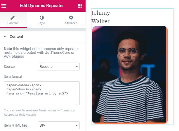 customizing Dynamic Repeater widget