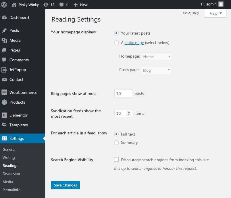 Reading settings