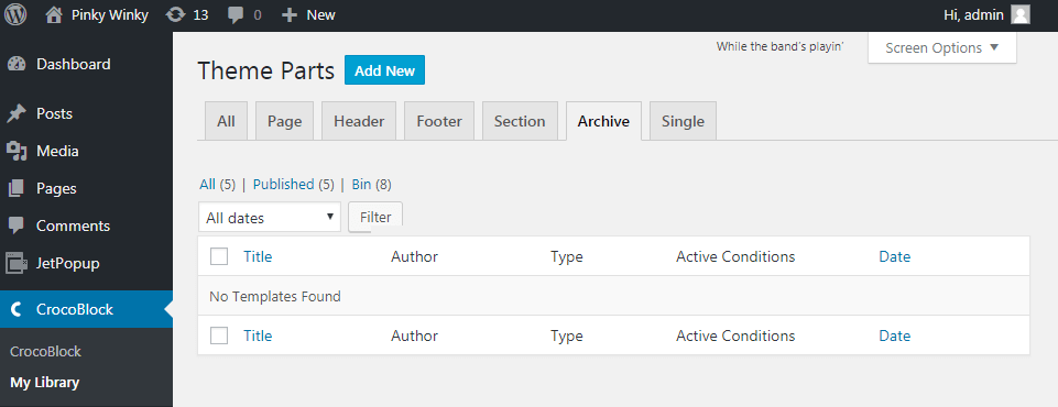 Archive tab in Crocoblock library