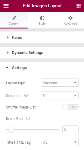 Image Layout settings section