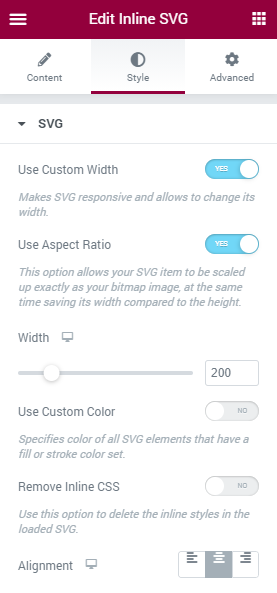 Inline SVG style settings