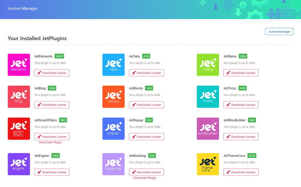 JetPlugins dashboard with all the plugins