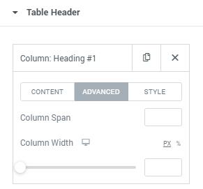 Table item advanced settings block