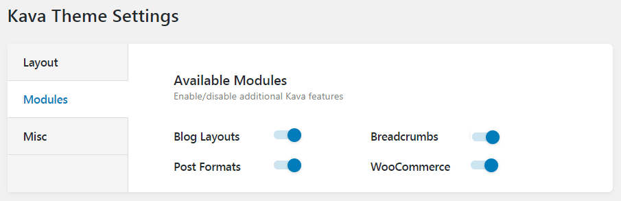 Breadcrumbs settings at Kava modules
