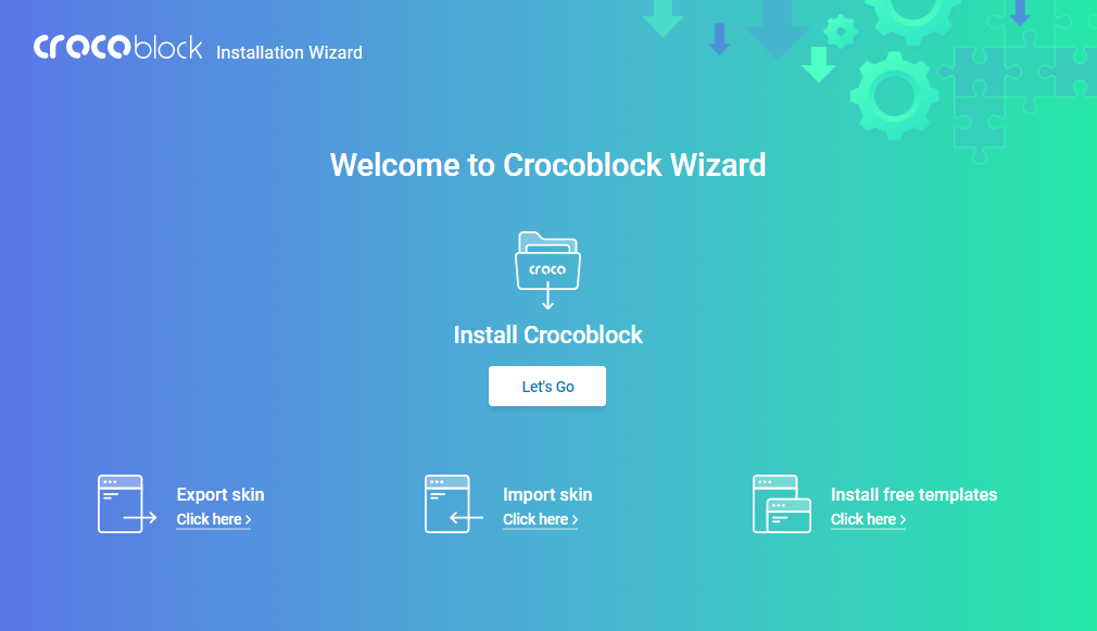 Crocoblock Wizard start screen