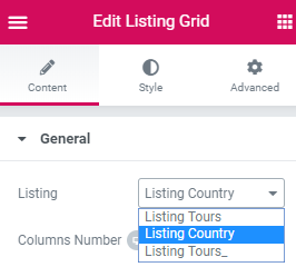 listing grid settings