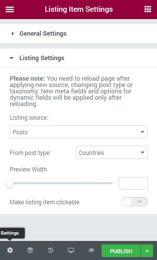 Listing Item Settings
