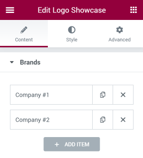 Logo Showcase Brands settings