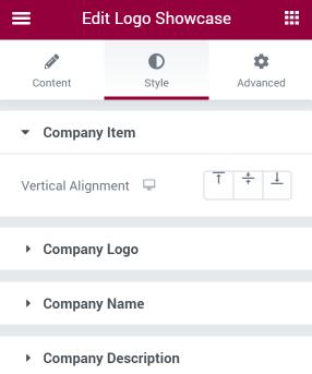 Logo Showcase Style settings