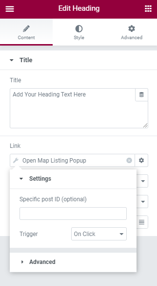 open map listing popup tag