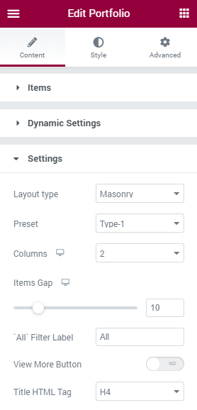 Portfolio widget Settings section