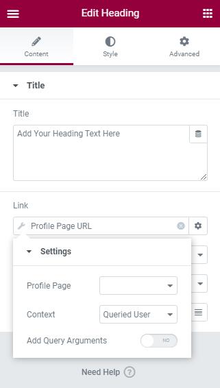 profule page URL tag