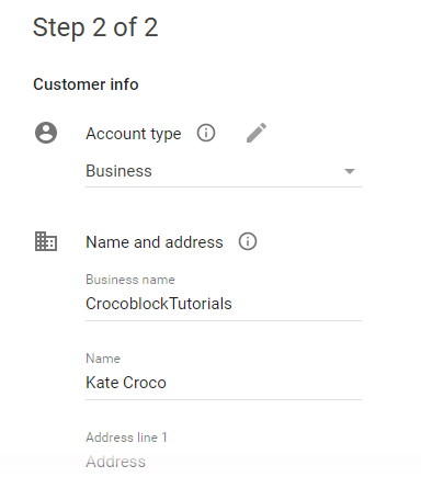 second step for activating google console platform