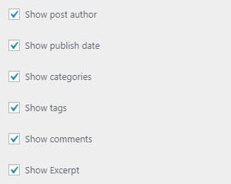 show options for blog