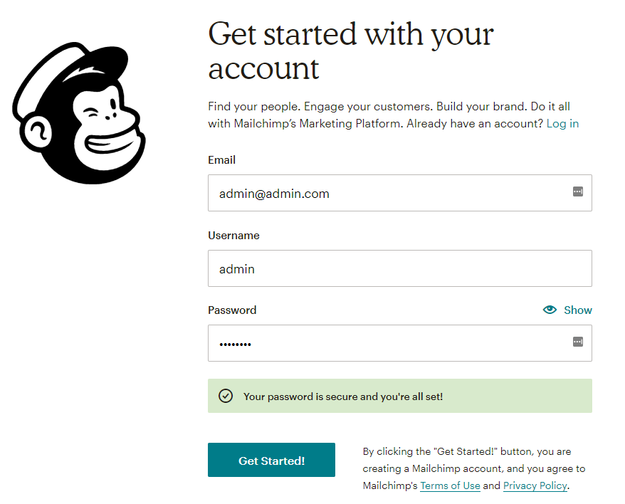 sign up to mailchimp account
