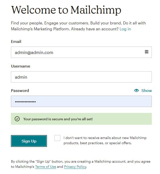 signup mailchimp form