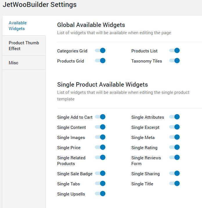 single product widgets