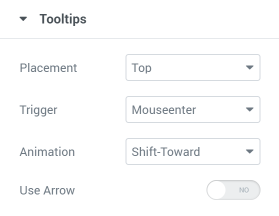 Pricing Table tooltips settings