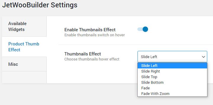 JetWooBuilder thumbnails settings