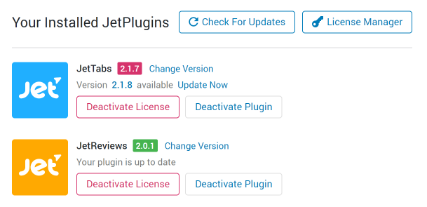 Crocoblock dashboard Installed plugins