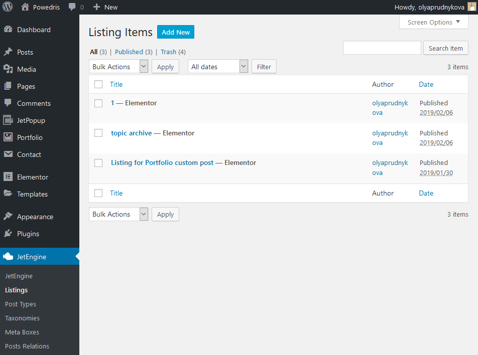 Listing items in JetEngine
