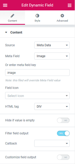 Meta Data source in Dynamic Field