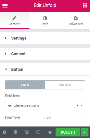 button content settings for Unfold widget
