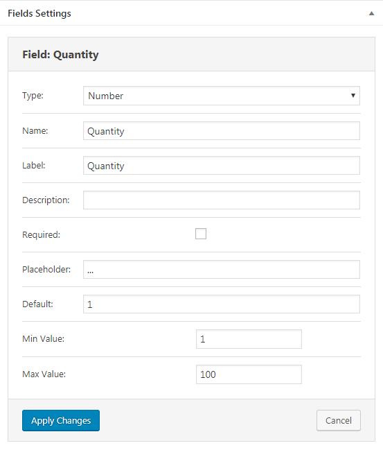 Quantity field