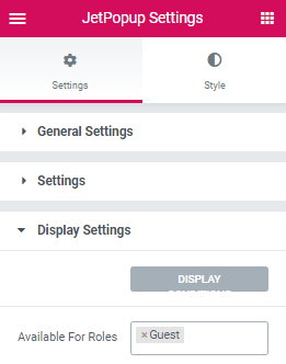 display settings of popup
