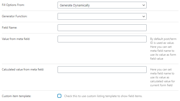 generate dynamically source in radio field