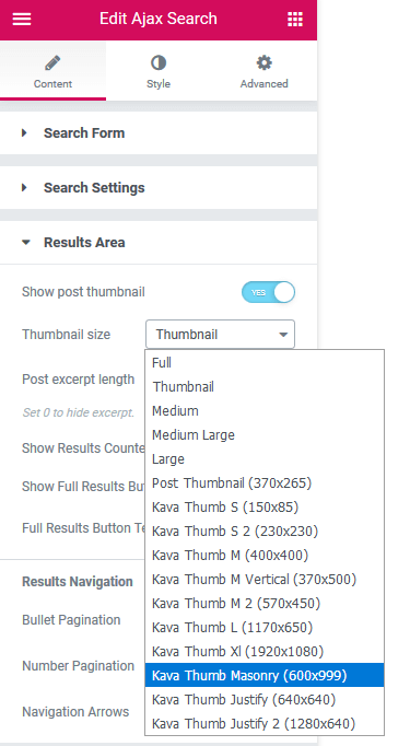 Results area settings in Ajax Search widget