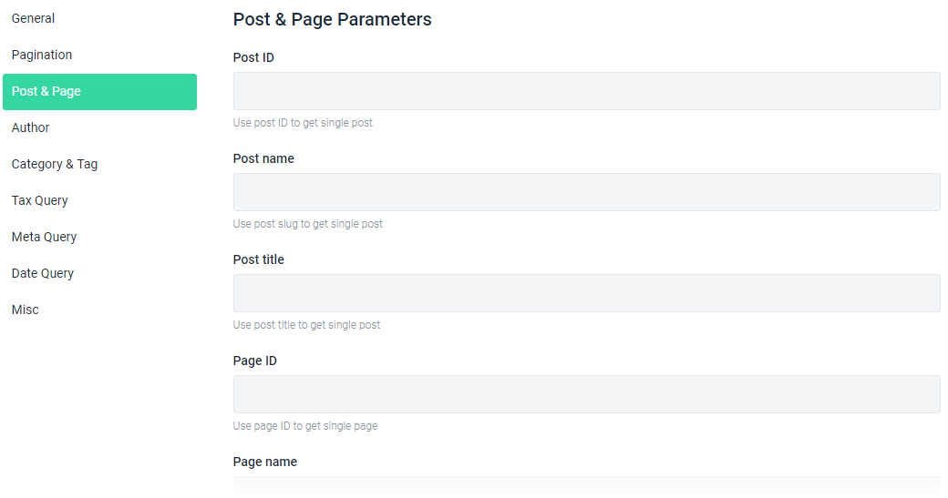 Post & Page Parameters