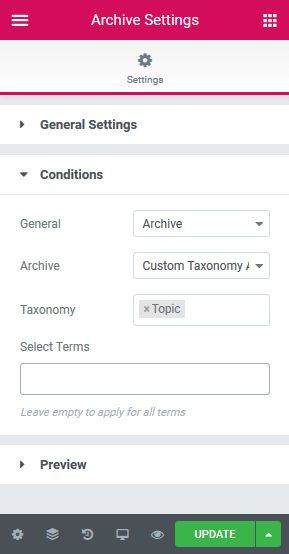 Conditions for the Archive settings