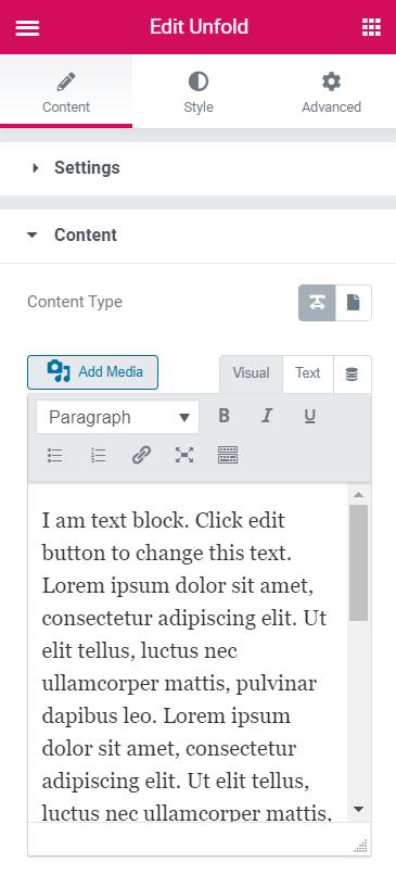 Unfold widget Content section