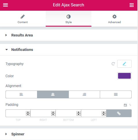 Style settings in Ajax Search widget