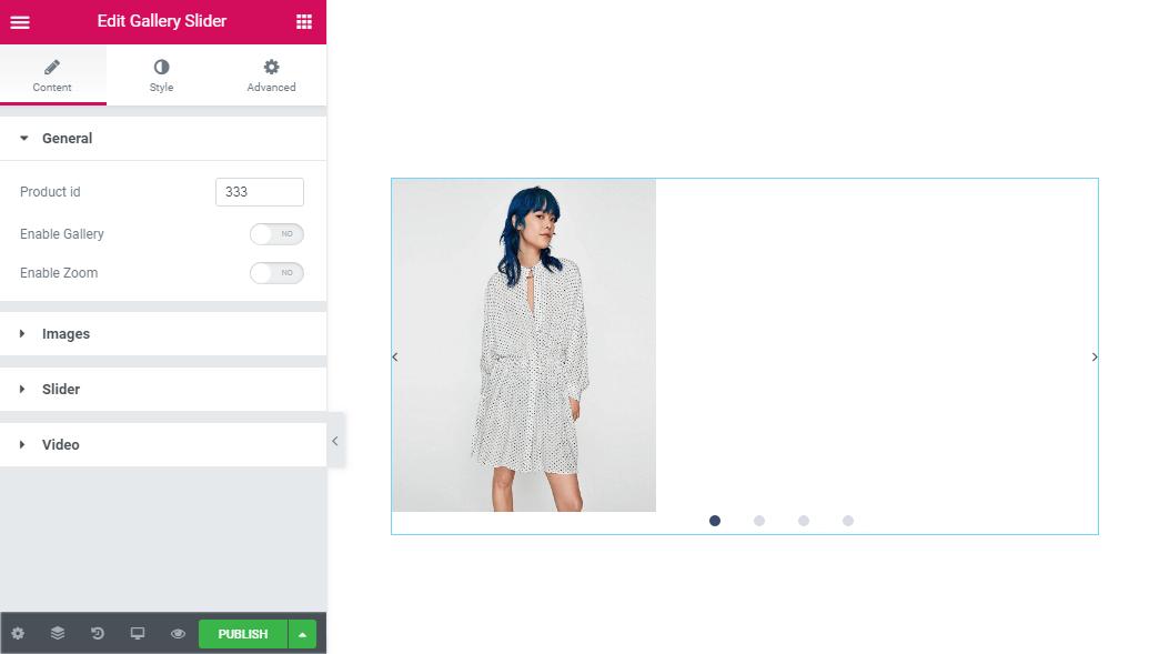 General content settings in Gallery slider widget