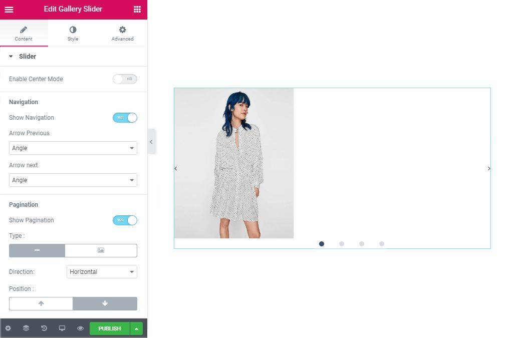 Slider content settings in Gallery slider widget