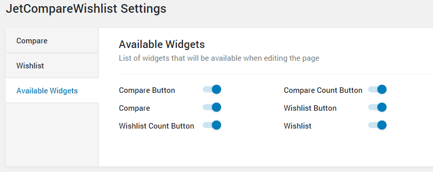 Available Widgets tab