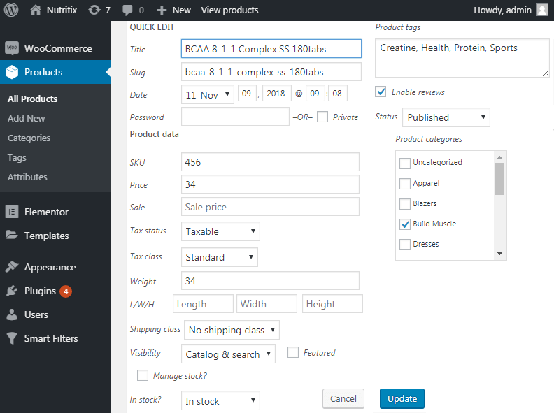 Products set up in WP dashboard