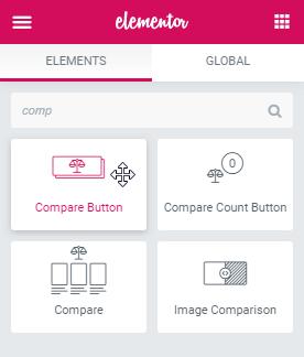 Compare Button widget for Elementor