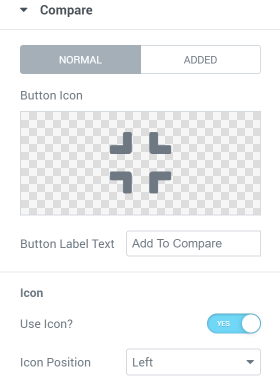 Compare Button settings